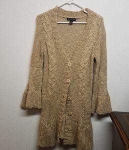 Inc knit cable cardigan  M tan